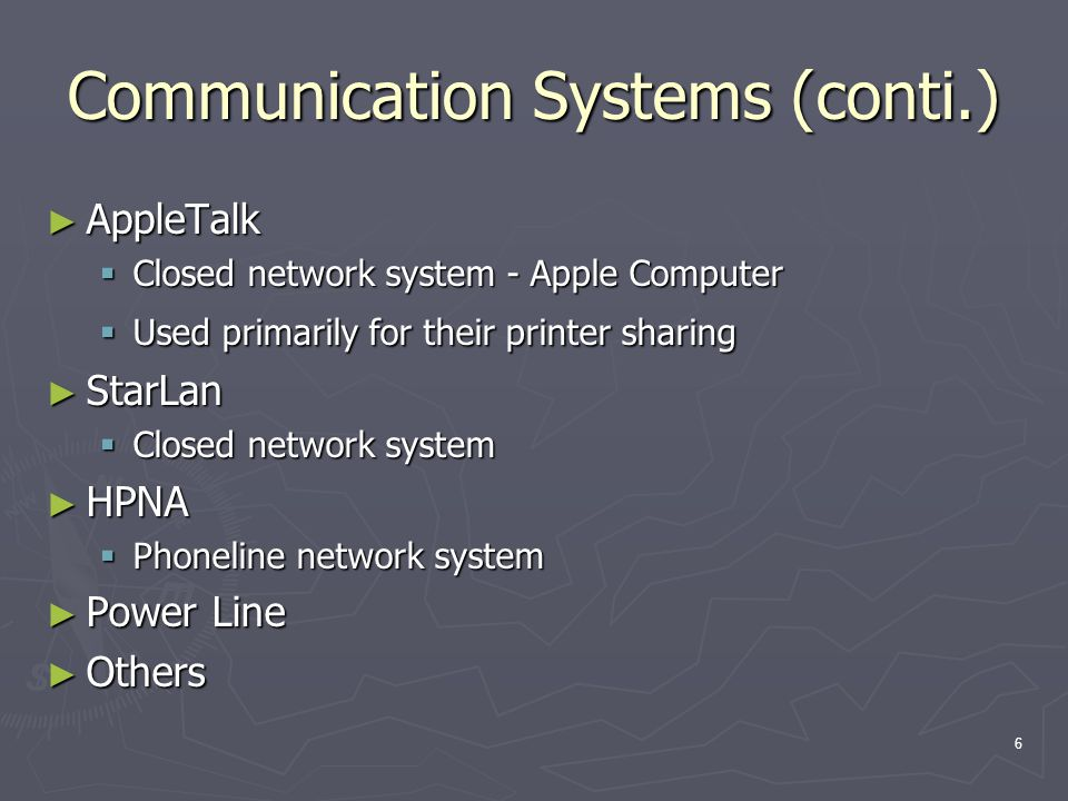 17 Transmission Protocols (conti.) Other systems Other systems PPP – Dial up modem (POT) PPP – Dial up modem (POT) PPPoE – Broadband (DSL & TV Cable) PPPoE – Broadband (DSL & TV Cable) PPTP – Virtual Private Networks PPTP – Virtual Private Networks UPnP – Special devices (printer servers, household appliances, etc.) UPnP – Special devices (printer servers, household appliances, etc.) AppleTalk - Used primarily for printer sharing AppleTalk - Used primarily for printer sharing DLC – IBM mainframe/terminal DLC – IBM mainframe/terminal ATM – Teleco network interconnections ATM – Teleco network interconnections