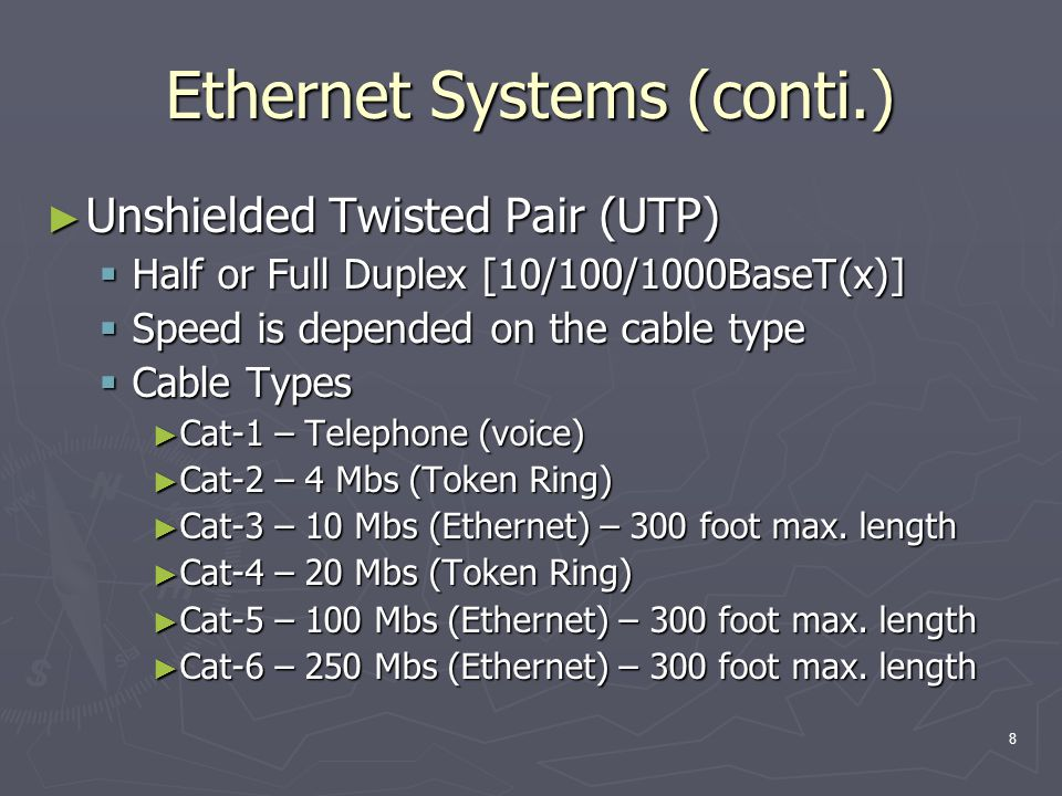 8 Ethernet Systems (conti.) Unshielded Twisted Pair (UTP) Unshielded Twisted Pair (UTP) Half or Full Duplex [10/100/1000BaseT(x)] Half or Full Duplex [10/100/1000BaseT(x)] Speed is depended on the cable type Speed is depended on the cable type Cable Types Cable Types Cat-1 – Telephone (voice) Cat-1 – Telephone (voice) Cat-2 – 4 Mbs (Token Ring) Cat-2 – 4 Mbs (Token Ring) Cat-3 – 10 Mbs (Ethernet) – 300 foot max.
