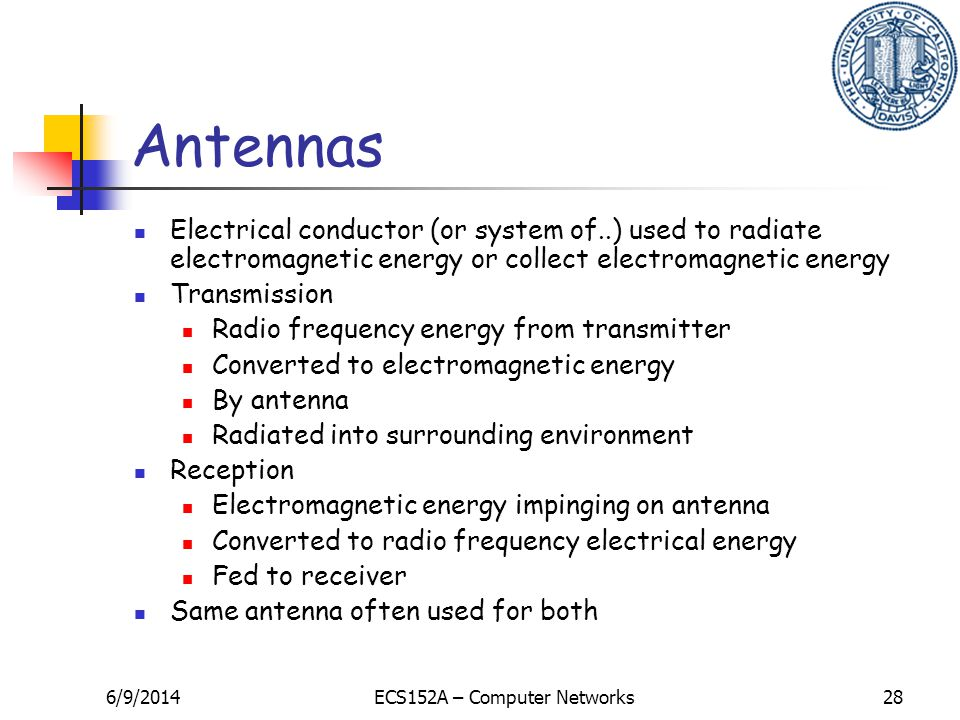 6/9/2014ECS152A – Computer Networks28 Antennas Electrical conductor (or system of..) used to radiate electromagnetic energy or collect electromagnetic energy Transmission Radio frequency energy from transmitter Converted to electromagnetic energy By antenna Radiated into surrounding environment Reception Electromagnetic energy impinging on antenna Converted to radio frequency electrical energy Fed to receiver Same antenna often used for both