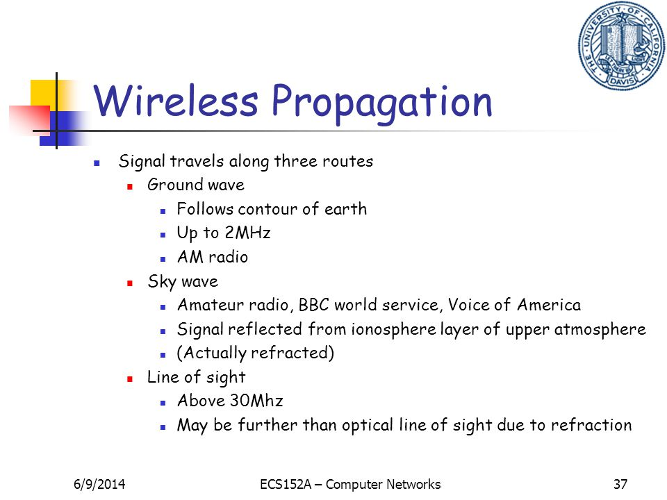 6/9/2014ECS152A – Computer Networks37 Wireless Propagation Signal travels along three routes Ground wave Follows contour of earth Up to 2MHz AM radio
