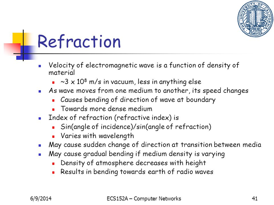 6/9/2014ECS152A – Computer Networks41 Refraction Velocity of electromagnetic wave is a function of density of material ~3 x 10 8 m/s in vacuum, less i
