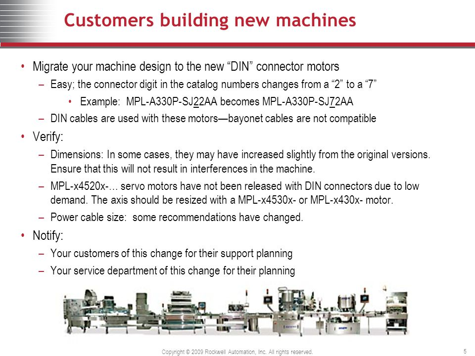 Copyright © 2009 Rockwell Automation, Inc. All rights reserved. 5 Customers building new machines Migrate your machine design to the new DIN connector