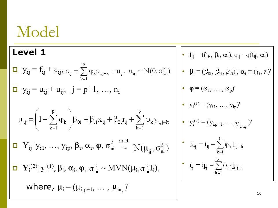 10 Model Level 1 y ij = f ij + ij, y ij = ij + u ij, j = p+1, …, n i Y ij | y i1, …, y ip, i, i,, Y i (2) | y i (1), i, i,, ~ MVN( i, I i ), where, i