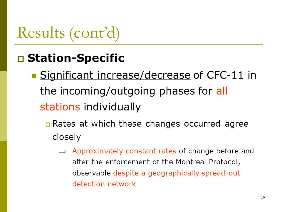 19 Results (contd) Station-Specific Significant increase/decrease of CFC-11 in the incoming/outgoing phases for all stations individually Rates at which these changes occurred agree closely Approximately constant rates of change before and after the enforcement of the Montreal Protocol, observable despite a geographically spread-out detection network