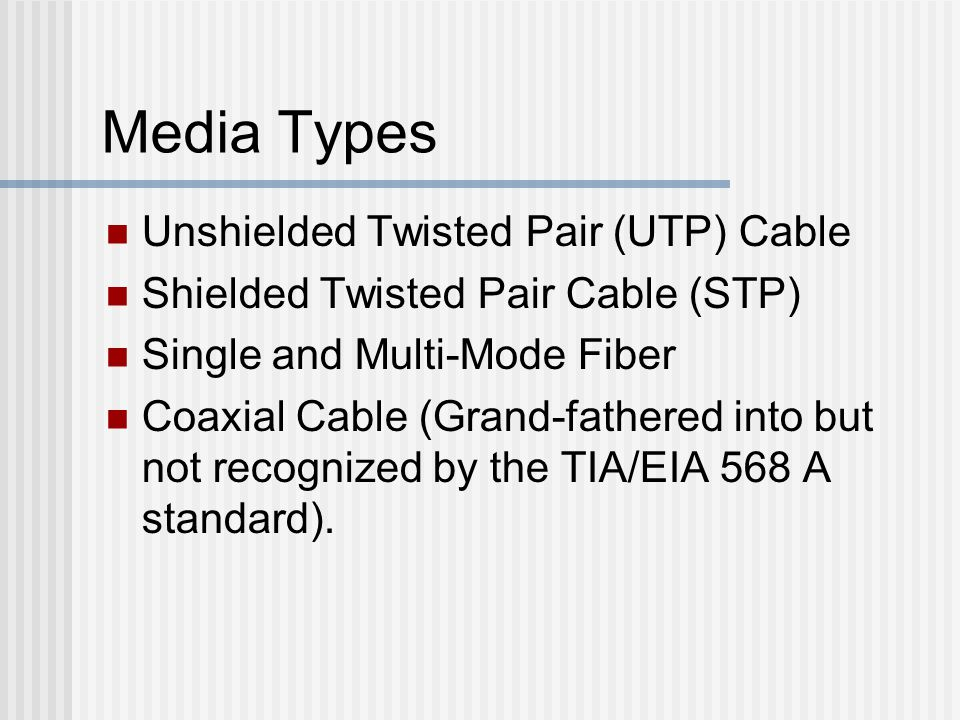 Media Types Unshielded Twisted Pair (UTP) Cable Shielded Twisted Pair Cable (STP) Single and Multi-Mode Fiber Coaxial Cable (Grand-fathered into but not recognized by the TIA/EIA 568 A standard).