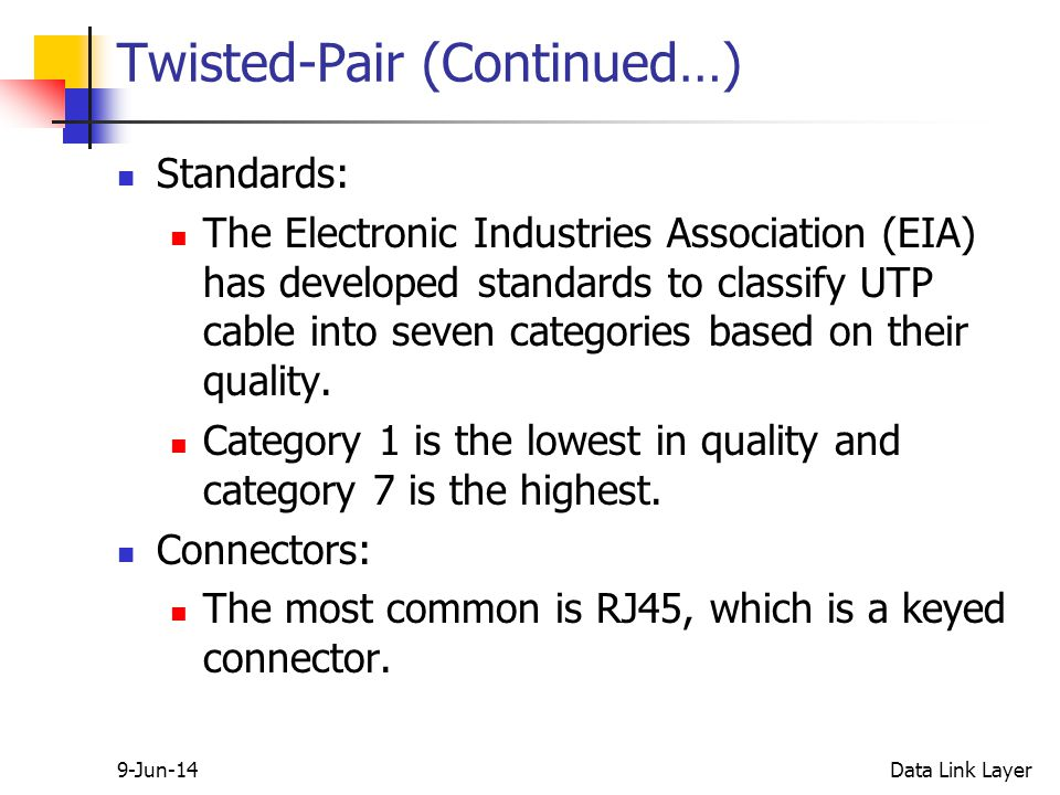 9-Jun-14Data Link Layer Twisted-Pair (Continued…) Standards: The Electronic Industries Association (EIA) has developed standards to classify UTP cable into seven categories based on their quality.