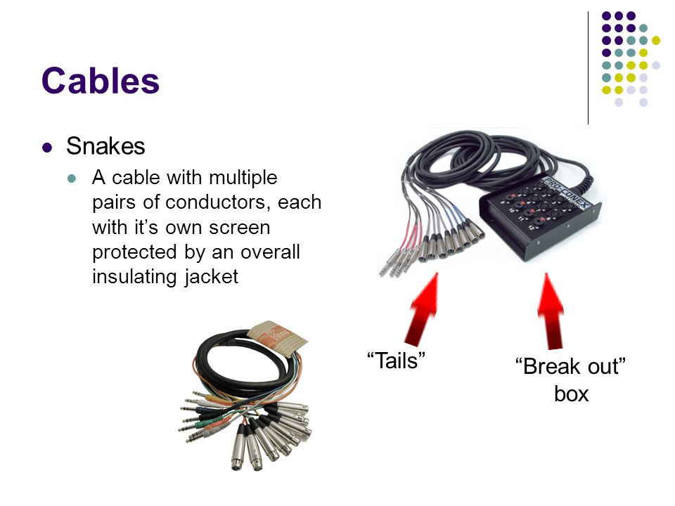 Cables Snakes A cable with multiple pairs of conductors, each with its own screen protected by an overall insulating jacket Tails Break out box