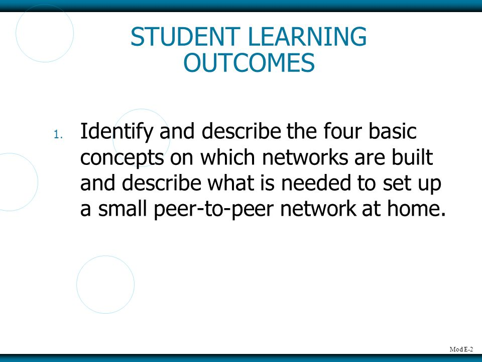 Mod E-2 STUDENT LEARNING OUTCOMES 1.