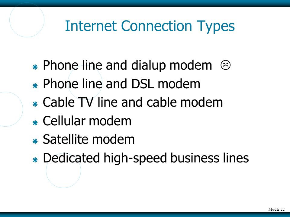 Mod E-22 Internet Connection Types Phone line and dialup modem Phone line and DSL modem Cable TV line and cable modem Cellular modem Satellite modem Dedicated high-speed business lines