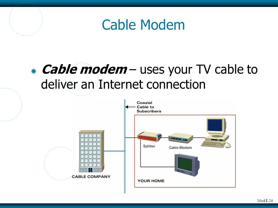 Mod E-26 Cable Modem Cable modem – uses your TV cable to deliver an Internet connection