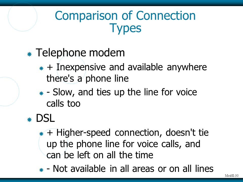 Mod E-30 Comparison of Connection Types Telephone modem + Inexpensive and available anywhere there s a phone line - Slow, and ties up the line for voice calls too DSL + Higher-speed connection, doesn t tie up the phone line for voice calls, and can be left on all the time - Not available in all areas or on all lines