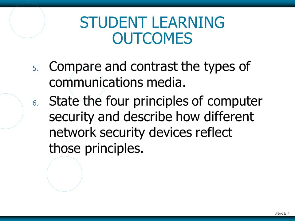 Mod E-4 5.Compare and contrast the types of communications media.