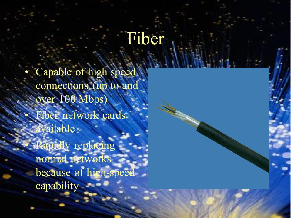 Fiber history 1790s – Telegraph invented 1880 – Telephone patented 1920s – Tubes used to transmit TV images 1954 - covers on a bare fiber with a transparent cladding of a lower refractive index 1960s – Glass clad fibers 1964 – Needed a new type of glass 1970 – New type of glass fused with silica proved to be what was needed