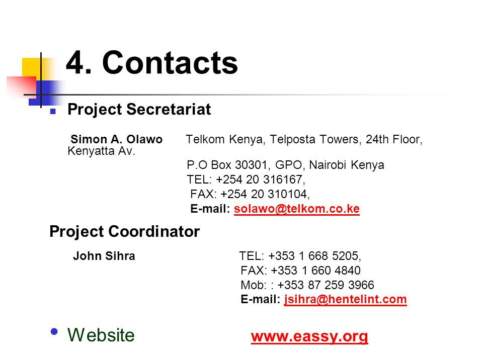 4. Contacts Project Secretariat Simon A.