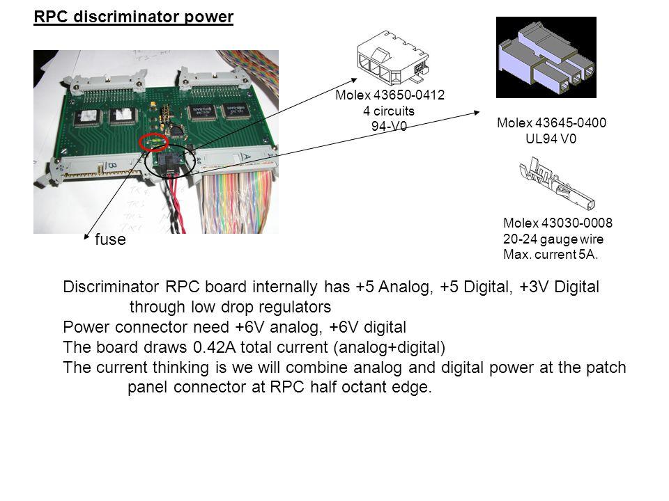 RPC discriminator power Molex 43650-0412 4 circuits 94-V0 Molex 43645-0400 UL94 V0 Molex 43030-0008 20-24 gauge wire Max. current 5A. Discriminator RP