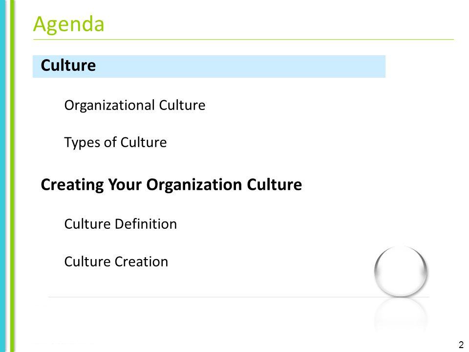 2 Culture Organizational Culture Types of Culture Creating Your Organization Culture Culture Definition Culture Creation Agenda