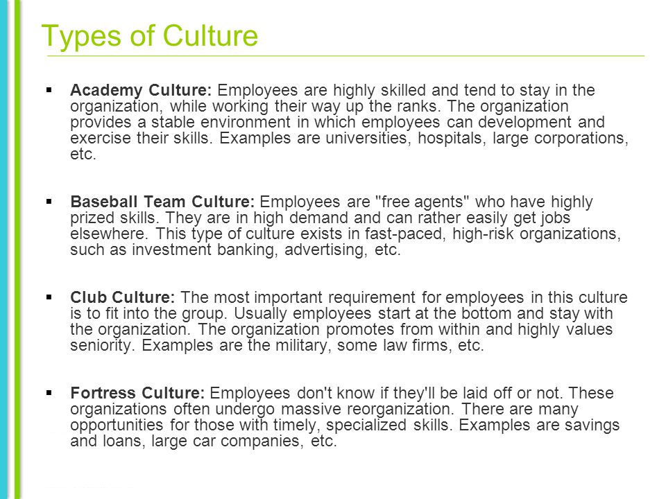Types of Culture Academy Culture: Employees are highly skilled and tend to stay in the organization, while working their way up the ranks.