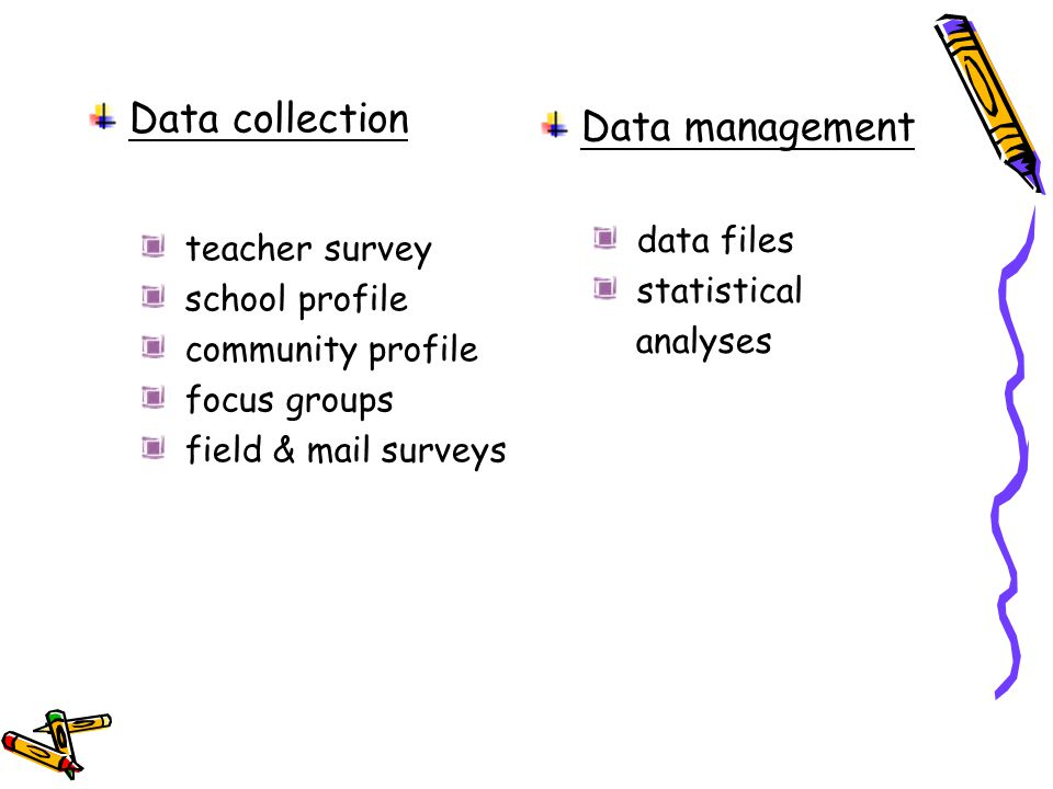 Data collection teacher survey school profile community profile focus groups field & mail surveys Data management data files statistical analyses