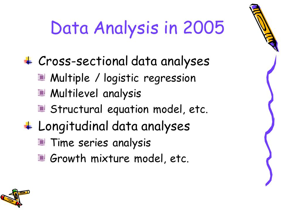 Data Analysis in 2005 Cross-sectional data analyses Multiple / logistic regression Multilevel analysis Structural equation model, etc.