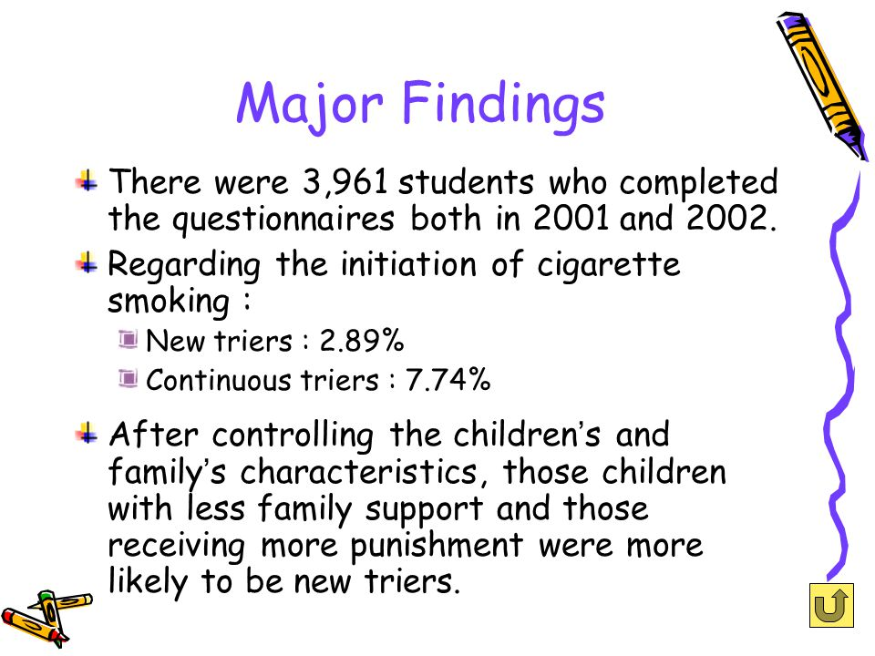 Major Findings There were 3,961 students who completed the questionnaires both in 2001 and 2002.