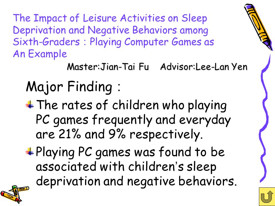 The Impact of Leisure Activities on Sleep Deprivation and Negative Behaviors among Sixth-Graders Playing Computer Games as An Example Major Finding The rates of children who playing PC games frequently and everyday are 21% and 9% respectively.