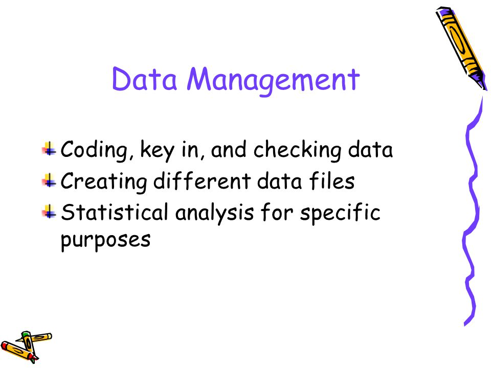 Data Management Coding, key in, and checking data Creating different data files Statistical analysis for specific purposes