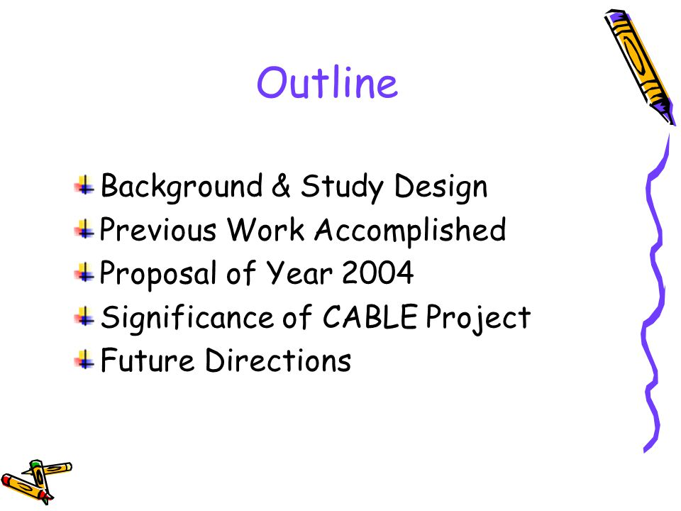 Outline Background & Study Design Previous Work Accomplished Proposal of Year 2004 Significance of CABLE Project Future Directions