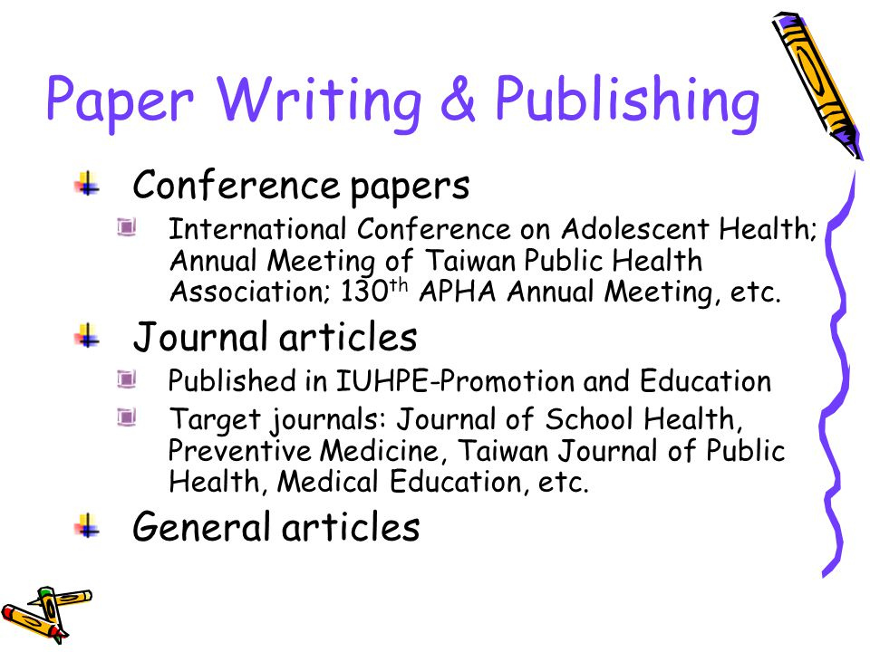 Paper Writing & Publishing Conference papers International Conference on Adolescent Health; Annual Meeting of Taiwan Public Health Association; 130 th APHA Annual Meeting, etc.