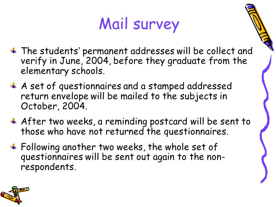 Mail survey The students permanent addresses will be collect and verify in June, 2004, before they graduate from the elementary schools.