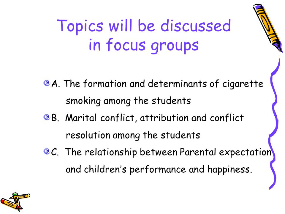 Topics will be discussed in focus groups A.