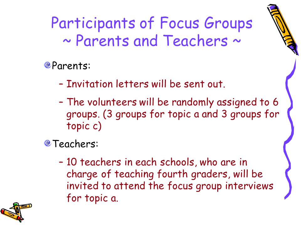 Participants of Focus Groups ~ Parents and Teachers ~ Parents: –Invitation letters will be sent out.