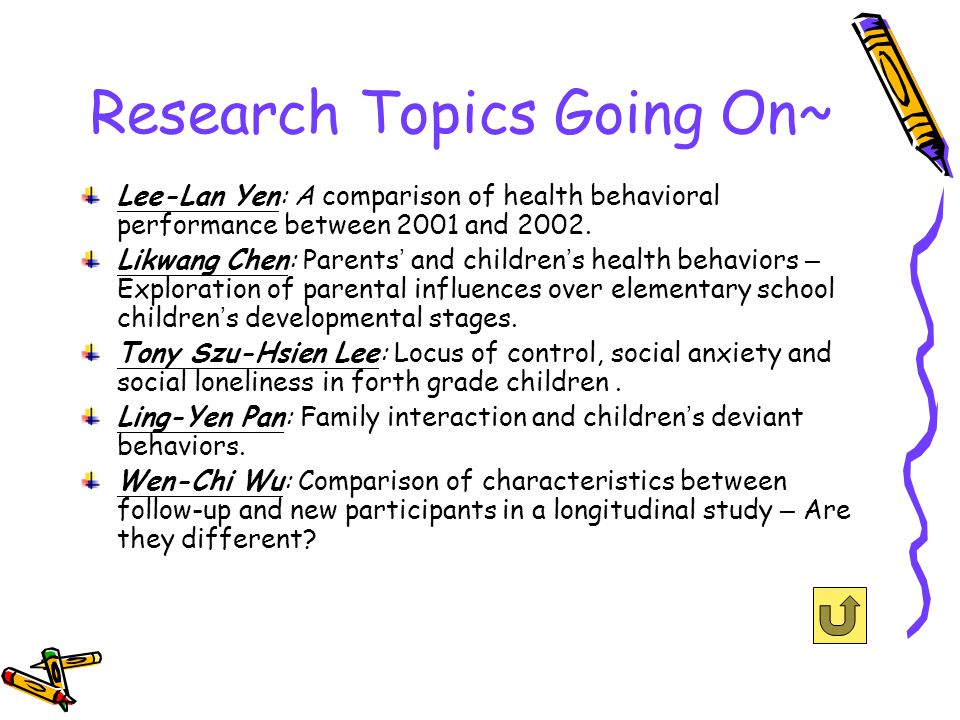 Research Topics Going On~ Lee-Lan Yen: A comparison of health behavioral performance between 2001 and 2002.