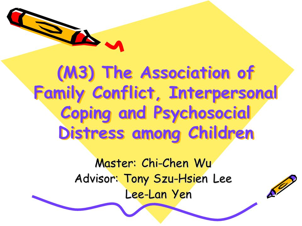 (M3) The Association of Family Conflict, Interpersonal Coping and Psychosocial Distress among Children Master: Chi-Chen Wu Advisor: Tony Szu-Hsien Lee Lee-Lan Yen Lee-Lan Yen