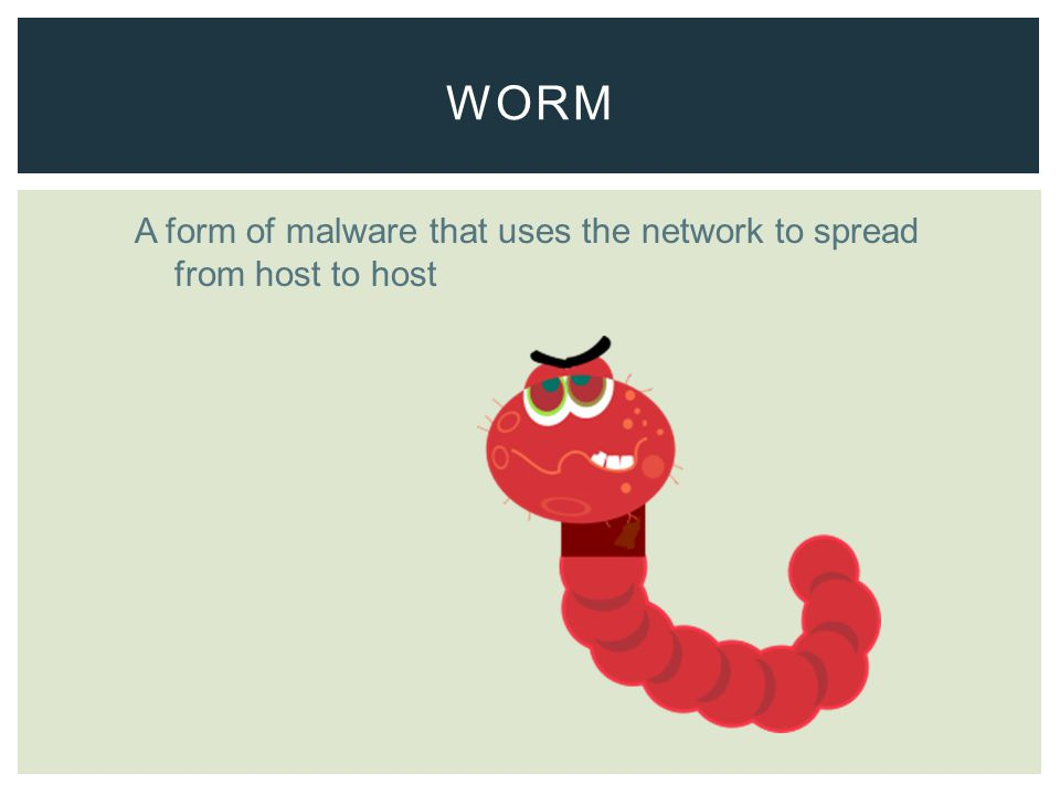 A form of malware that uses the network to spread from host to host WORM