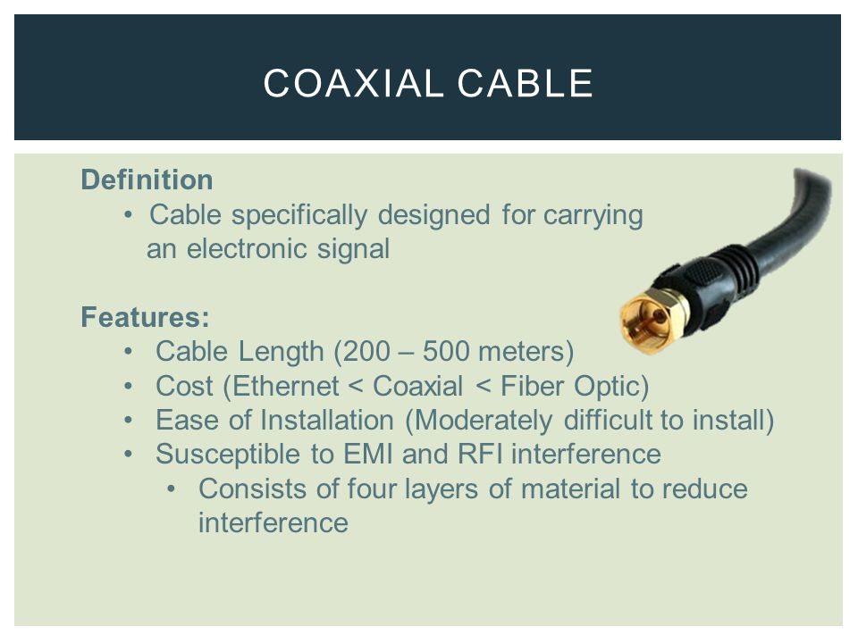 Definition Cable specifically designed for carrying an electronic signal Features: Cable Length (200 – 500 meters) Cost (Ethernet < Coaxial < Fiber Optic) Ease of Installation (Moderately difficult to install) Susceptible to EMI and RFI interference Consists of four layers of material to reduce interference COAXIAL CABLE