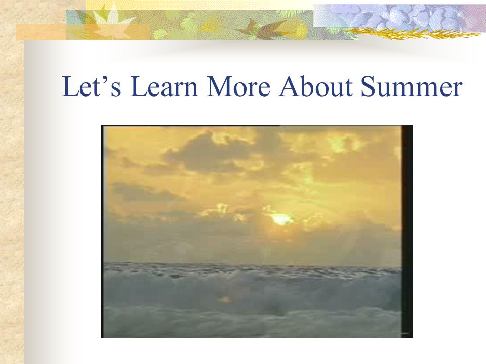 Lets Learn More About Summer