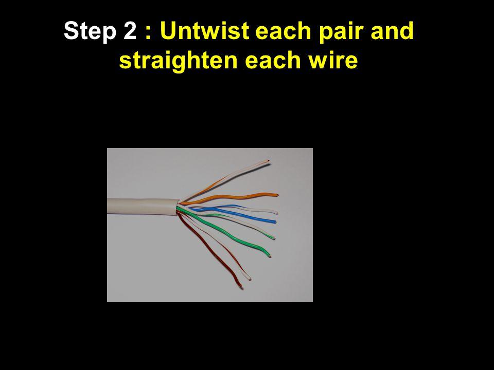 Step 2 : Untwist each pair and straighten each wire