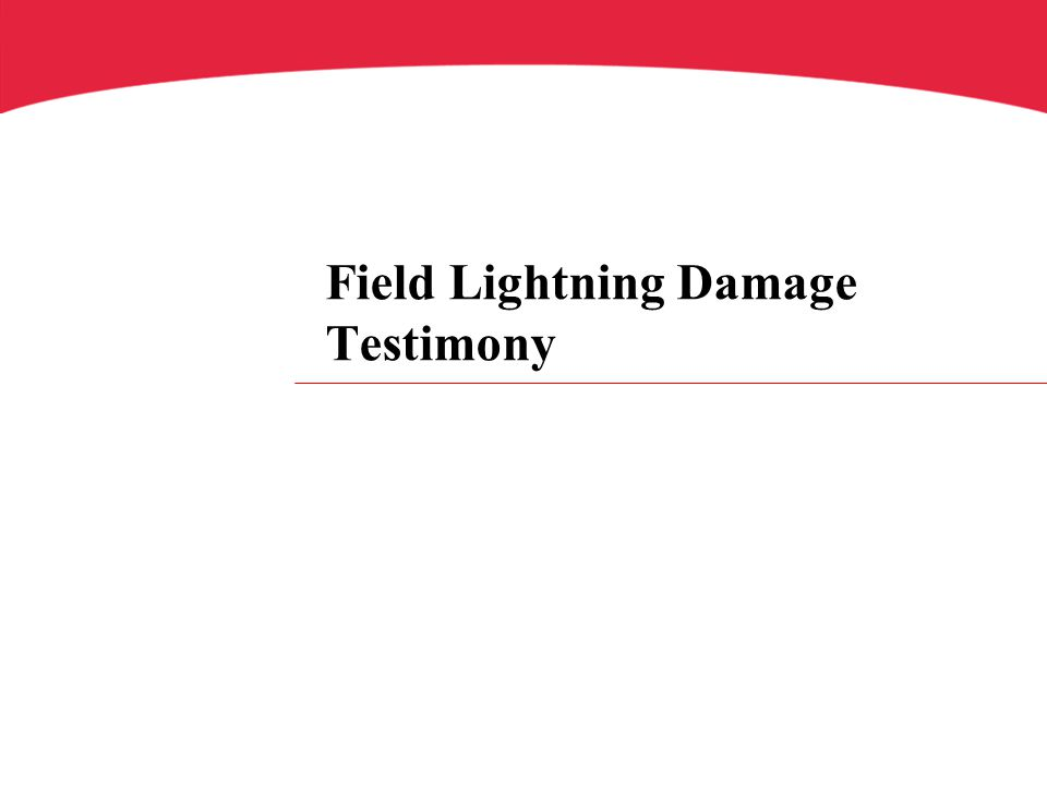 Field Lightning Damage Testimony
