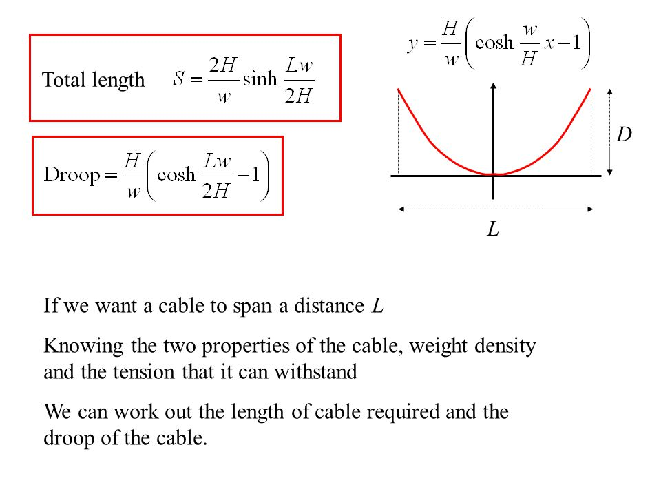 L D If we want a cable to span a distance L Knowing the two properties of the cable, weight density and the tension that it can withstand We can work out the length of cable required and the droop of the cable.