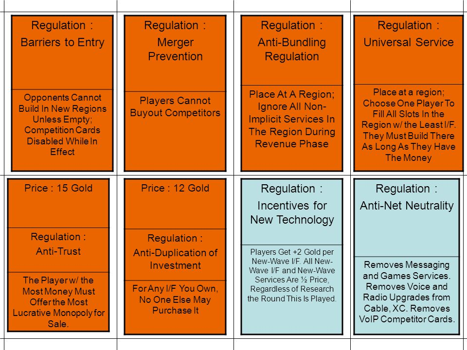 Regulation : Incentives for New Technology Players Get +2 Gold per New-Wave I/F. All New- Wave I/F and New-Wave Services Are ½ Price, Regardless of Re