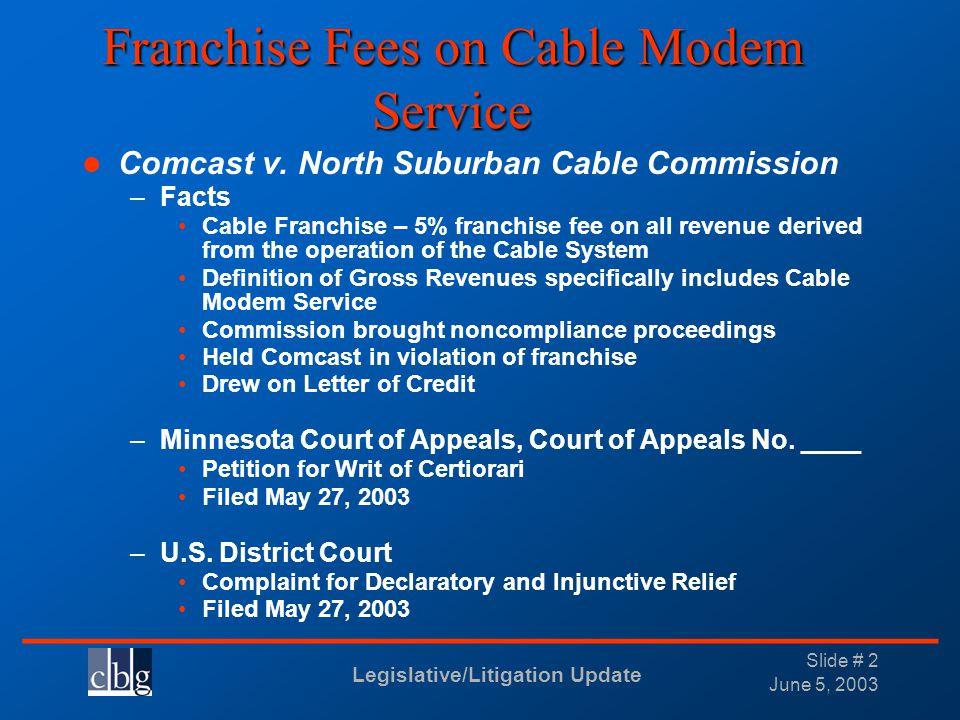 Legislative/Litigation Update _______________________________ June 5, 2003 Slide # 2 Franchise Fees on Cable Modem Service Comcast v. North Suburban C