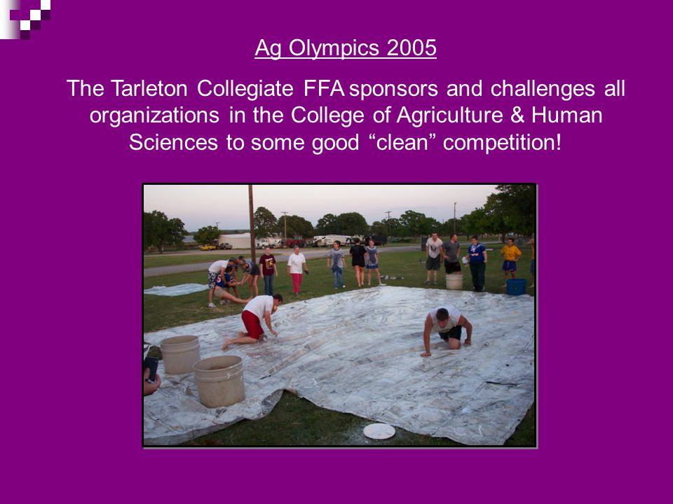 Ag Olympics 2005 The Tarleton Collegiate FFA sponsors and challenges all organizations in the College of Agriculture & Human Sciences to some good cle