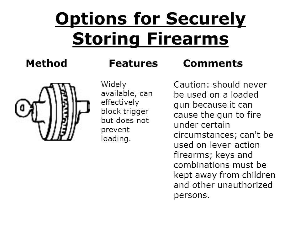 GUN LOCK SAFETY TIPS Keep cable and lock outside of trigger guard at all times.