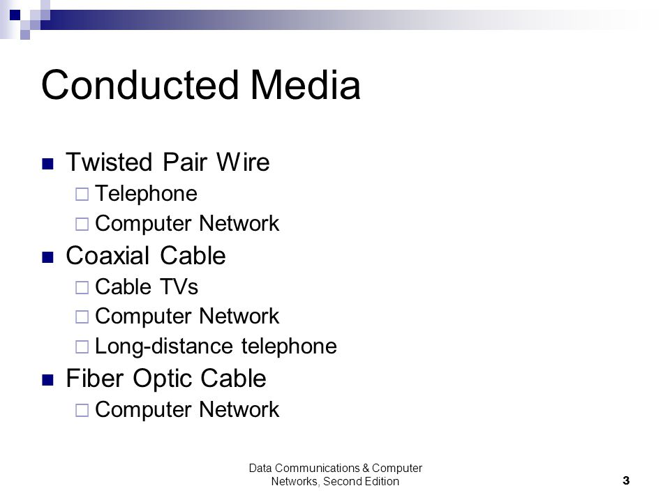 Data Communications & Computer Networks, Second Edition3 Conducted Media Twisted Pair Wire Telephone Computer Network Coaxial Cable Cable TVs Computer Network Long-distance telephone Fiber Optic Cable Computer Network