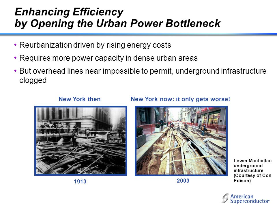 Enhancing Efficiency by Opening the Urban Power Bottleneck Reurbanization driven by rising energy costs Requires more power capacity in dense urban ar