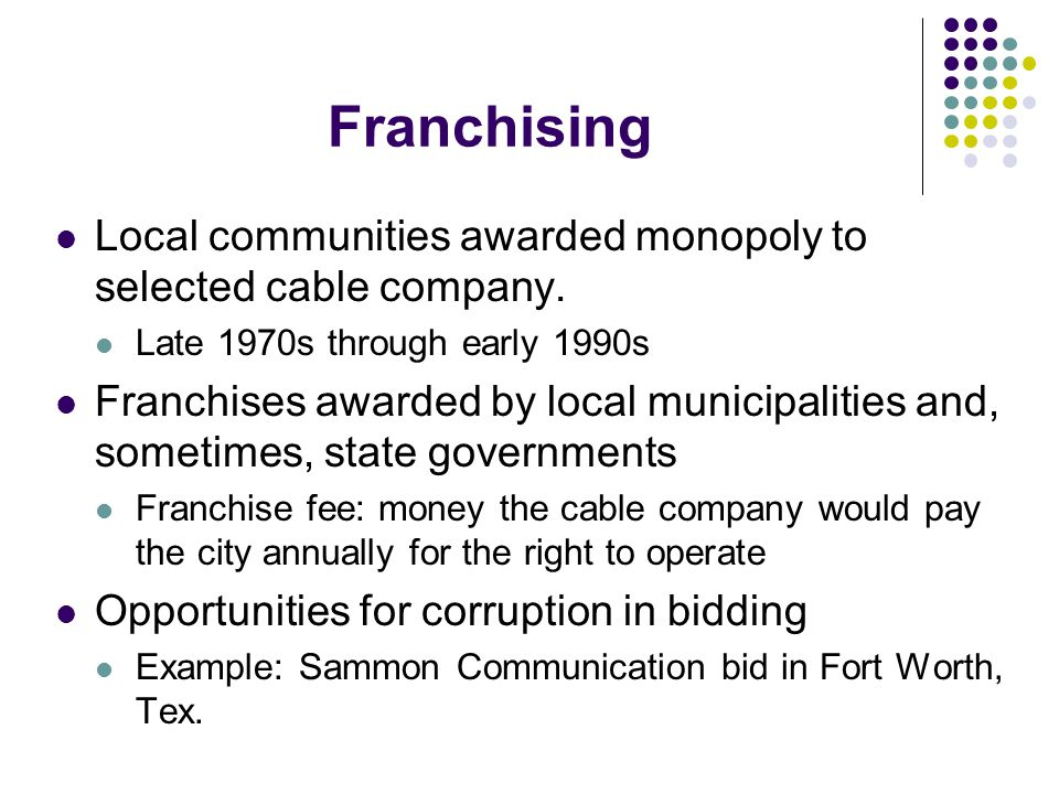 Local communities awarded monopoly to selected cable company.