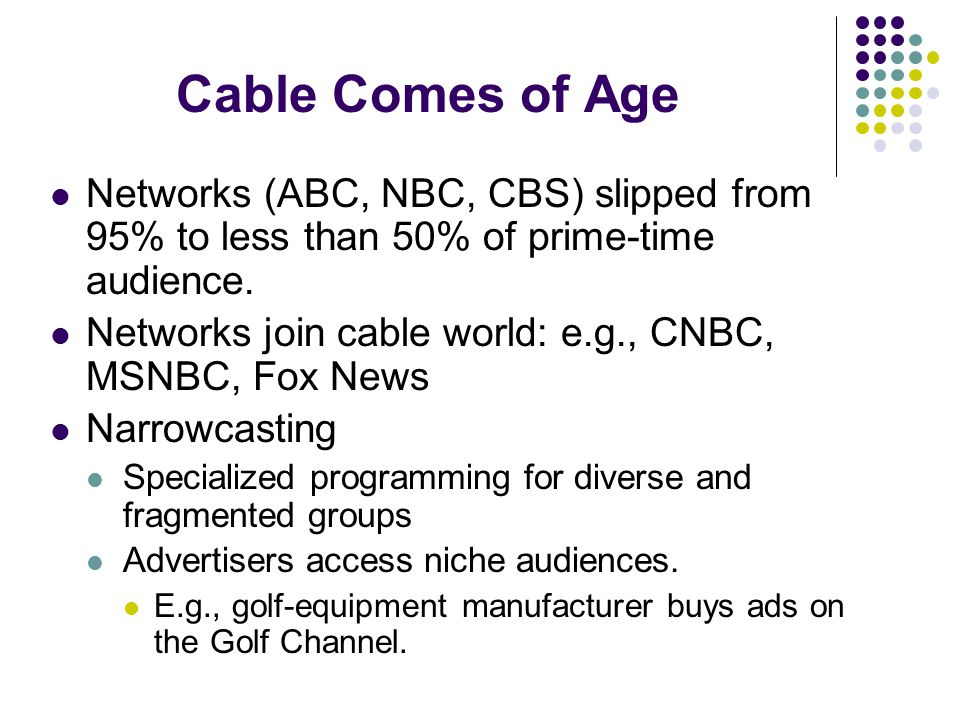Networks (ABC, NBC, CBS) slipped from 95% to less than 50% of prime-time audience.