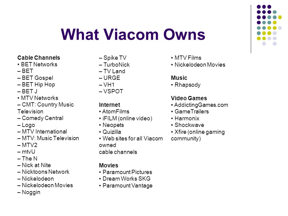 What Viacom Owns Cable Channels BET Networks – BET – BET Gospel – BET Hip Hop – BET J MTV Networks – CMT: Country Music Television – Comedy Central – Logo – MTV International – MTV: Music Television – MTV2 – mtvU – The N – Nick at Nite – Nicktoons Network – Nickelodeon – Nickelodeon Movies – Noggin – Spike TV – TurboNick – TV Land – URGE – VH1 – VSPOT Internet AtomFilms iFILM (online video) Neopets Quizilla Web sites for all Viacom owned cable channels Movies Paramount Pictures Dream Works SKG Paramount Vantage MTV Films Nickelodeon Movies Music Rhapsody Video Games AddictingGames.com GameTrailers Harmonix Shockwave Xfire (online gaming community)