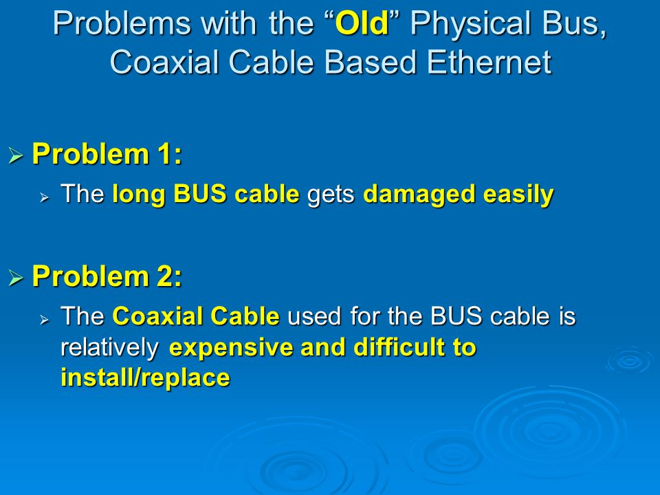 The New Ethernet Solution to Problem 1: Solution to Problem 1: Star physical topology instead of bus physical topology Star physical topology instead of bus physical topology Solution to Problem 2: Solution to Problem 2: UTP cable instead of coaxial cable UTP cable instead of coaxial cable