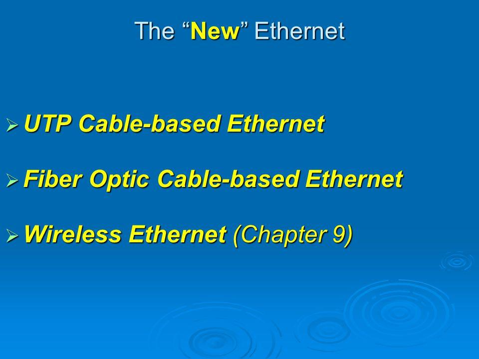 Gigabit Ethernet 1000BaseX 1000BaseX 1000 Mbps (1 Gbps) 1000 Mbps (1 Gbps) The most popular Gigabit Ethernet: The most popular Gigabit Ethernet: 1000BaseT: 1000BaseT: Four pairs of CAT5 or better UTP cable Four pairs of CAT5 or better UTP cable Maximum length of cable from a node to a hub: 100 meters Maximum length of cable from a node to a hub: 100 meters 1000BaseF: 1000BaseF: Fiber optic cables Fiber optic cables Maximum length of cable from a node to a hub: 2000 meters Maximum length of cable from a node to a hub: 2000 meters